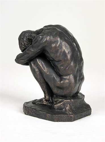 Crouching man male nude by bartlett american