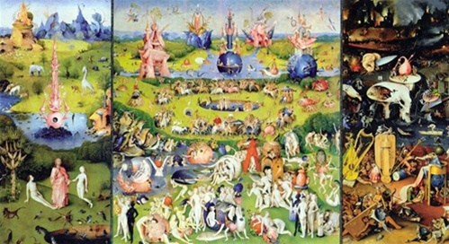 Garden Of Earthly Delights Triptych By Bosch Three Panel Folding Card