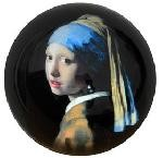Girl with Pearl Earring Glass Paperweight by Johannes Vermeer