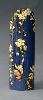 Japanese Bird and Flowers Vase by Hokusai