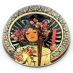 La Trappistine Belle Epoque Glass Paperweight by Alphonse Mucha
