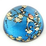 Bullfinch and Blossoms Glass Paperweight by Hokusai - special order
