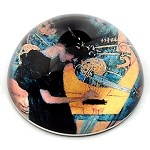 Music Woman with Lyre Glass Paperweight by Klimt