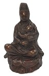 Kuan-Yin Reddish Bronze Metal as Compassionate Kuanyin Mother Holding Baby Statue 6H