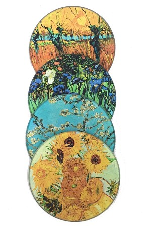 Van Gogh Paintings Glass Coasters Set of 4 with Storage Stand
