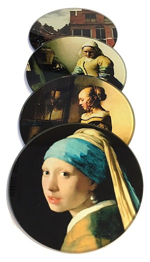 Vermeer Paintings Glass Coasters Set of 4 with Storage Stand