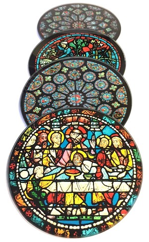 Chartres Cathedral Windows Glass Coasters Set of 4 with Storage Stand