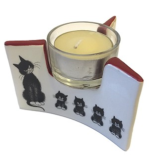 Dubout Cats in a Row l'Alignment Ceramic Tealight