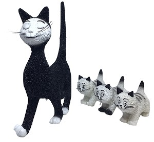 Mommy Cat Walking Three Kittens Statue by Dubout
