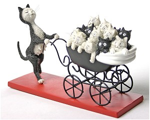 Proud Cat Mom Pushes Carriage Filled with Kittens by Dubout - DUB25