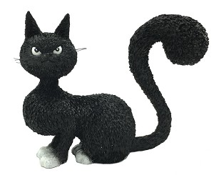 Cat Black La Belle with Grumpy Face and Arched Tail Statue by Dubout
