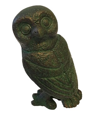 Greek Owl Head Turned Athena Miniature Statue, Green Bronze GRE09 Parastone