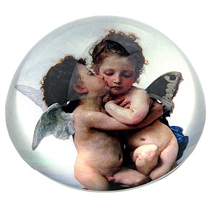 Cherubs Angels Kissing from Bouguereau Glass Dome Paperweight