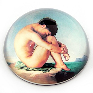 Naked Boy Sitting at the Edge of Sea Glass Paperweight by J.H. Flandrin