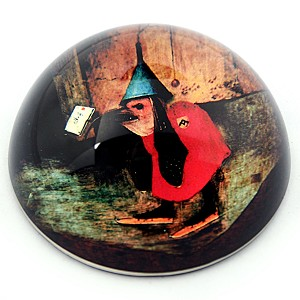 Bird With Letter from Temptation of St Anthony Glass Paperwight by Bosch