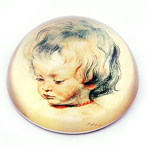 Portrait of His Son Nicolas Glass Paperweight by Peter Paul Rubens