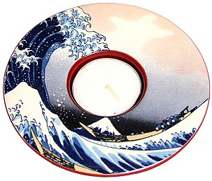 Hokusai Wave Round Flat Ceramic Tealight