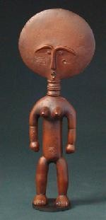 Akua'ba African Fertility Round Abstract Head Statue