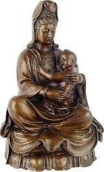 Kuan-Yin Holding Baby as Mother Goddess Bronze Metal Statue 9H