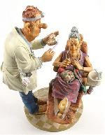Dentist with Grandma Knitting Statue, Large