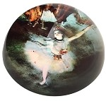 Degas Ballerina Dancer White Glass Paperweight 3W
