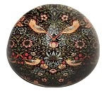Morris Strawberry Thief Birds Flowers Red Black Arts and Crafts Glass Dome Desk Museum Paperweight 3W
