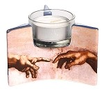 Michelangelo Creation Hands Spark of Life Ceramic Tealight