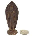 Buddha Tiny Miniature Standing Protection Pose Bronze Statue 2.5H