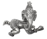 Crawling Baby Ganesh Small Statue, pewter over bronze