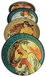 Mucha Paintings Glass Coasters Set of 4 with Storage Stand