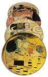 Klimt Paintings Glass Coasters Set of 4 with Storage Stand