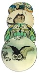 Owl Paintings Glass Coasters Set of 4 with Storage Stand