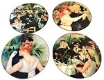 Renoir Paintings Glass Coasters Set of 4 with Storage Stand