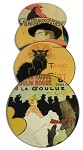 Parisian Posters Lautrec Steinlen Belle Epoque Glass Coasters Set of 4 with Storage Stand