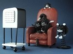 Cats Watching a Horror Movie Figurine Statue Set by Dubout