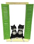 Two Cats Sitting in Window with Shutters On the Watch Figurine by Dubout  - Special Order