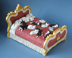Dubout Cats Sleeping on Gold and Red Fancy Bed Figurine Statue