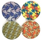 Escher Symmetry Birds Fish Geometric Bar Drink Glass Coasters Set of 4