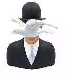 Magritte Man with Hat and Dove l'homme au chapeau melon Statue