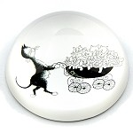 Cat Parent Pushing Stroller with Many Kittens Glass Paperweight by Dubout - special order