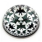 Escher Angels and Devils Interlocking Tessellation Glass Dome Paperweight 3W