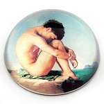 Naked Boy Sitting at the Edge of Sea Glass Paperweight by J.H. Flandrin - special order