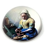 Milkmaid Glass Paperweight by Johannes Vermeer - special order